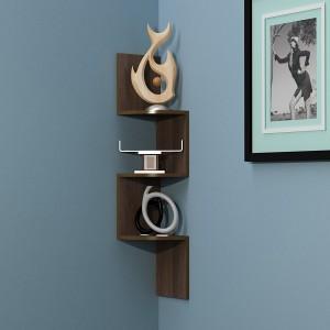 BM Wood Furniture Zigzag Shaped 3 Curved Wall Corner Shelf - Brown MDF Wall Shelf