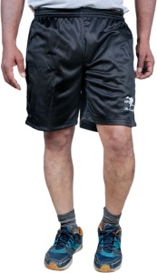 HPS Sports Solid Men & Women Black Sports Shorts