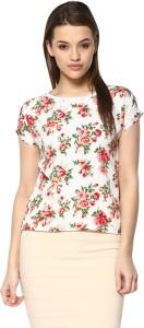Mayra Casual Short Sleeve Printed Women's White Top