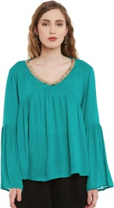 I Know Casual Full Sleeve Embellished Women's Green Top