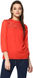Mayra Casual 3/4th Sleeve Lace, Solid Women's Red Top