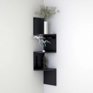 Bm Wood Furniture Zigzag Shaped 3 Curved Wall Corner Shelf Black Mdf