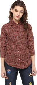 Mayra Women's Checkered Casual Red Shirt