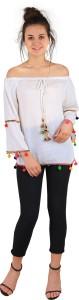 Anzlik Casual Full Sleeve Embellished Women's White Top