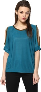 Mayra Party Short Sleeve Solid Women's Dark Blue Top