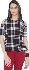 Chimpaaanzee Casual Short Sleeve Checkered Women's Black Top