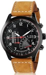 LEBENSZEIT Curren Style Leather Strap Aviator Military Design Casual Analog Watch  - For Men