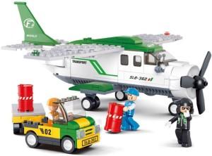 Sluban Mini Transport Plane Goods Delivery Aircraft Aviation Building Blocks