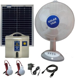 Belifal Solar Home Lighting System with 12V DC LED Bulb(2pcs) & Table Fan &  12V 7Ah Battery including Solar Charge Controller, Solar Panel Solar Light