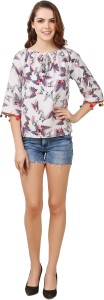Delux Look Casual 3/4th Sleeve Printed Women's White Top