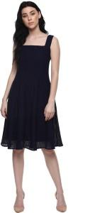 0afaf68cc9fd Abiti Bella Women s Fit and Flare Dark Blue Dress Best Price in ...