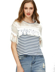 Vitan's Collection Casual Short Sleeve Striped Women's White Top