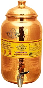 Taluka Handmade Healthy Pure Copper Matka Water Pot Pitcher Pot Water Tank Capacity :- 2000 ML for Water Drinking  - 2 L Copper Multi-purpose Storage Container
