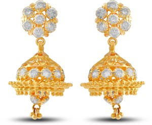 P N Gadgil Jewellers Designer Yellow Gold 22kt Drop Earring