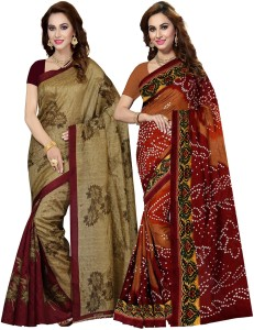 3cfd947c15d Ishin Printed Bollywood Art Silk Saree Pack of 2 Multicolor Best ...