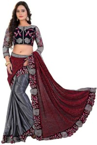 Rudra Fashion Embroidered Bollywood Lycra SareeRed