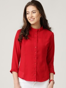 2d7b28ebc04b9b Netanya Women s Solid Casual Red Shirt Best Price in India