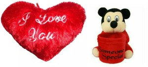 PIST Fashionble Gift Combo Mickey Penstand and Love Heart 35 Cm Red Color  - 35 cm
