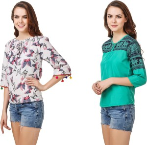 Delux Look Casual 3/4th Sleeve Printed Women's Green Top