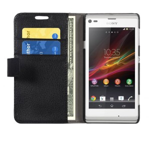 buy popular bb47a bee5b Cubix Wallet Case Cover for Sony Xperia L C2104Black