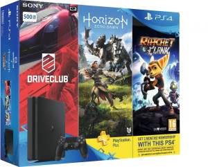 Sony PlayStation 4 (PS4) Slim 500 GB with Horizon Zero Dawn, Drive Club and Ratchet & Clank