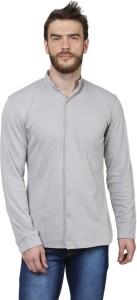 Sayitloud Men's Solid Casual Grey Shirt