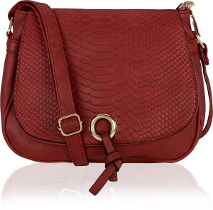 96a9d645d3d Kleio Women Maroon Leatherette Sling Bag Best Price in India
