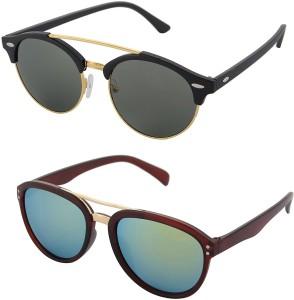 a8ad7500e5 Aventus COMS66S63 Round Aviator Sunglasses Green Best Price in India ...