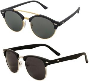 694d013ea0 Aventus COMS12S66 Round Clubmaster Sunglasses Green Black Best Price ...
