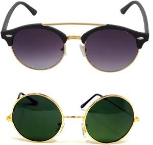 d768e0e8f5 Aventus COMS29S67 Round Clubmaster Sunglasses Black Green Best Price in  India