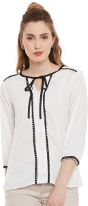 I Know Casual 3/4th Sleeve Solid Women's White Top