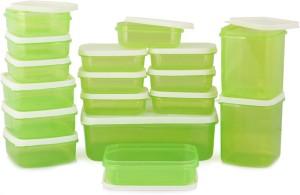 MasterCook 17 Pieces Green  - 200 ml, 330 ml, 1630 ml, 150 ml, 500 ml, 700 ml Polypropylene Food Storage