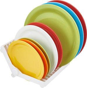 Inddus Foldable, Draining Dish Holder & Rack - Multicolor Plastic Kitchen Rack