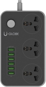 U-GLOBE Surge Protector Power Strip 2 mtr Cord with 3.4A 6-Port USB Home Charging Station-6 port mobile charger 3 Socket Surge Protector