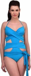 N-Gal Blue Wrap-around One-piece Swimwear Solid Women's Swimsuit