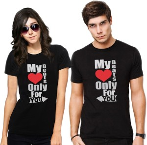 Frenemy Self Design Men & Women Round Neck Black T-Shirt