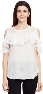 FORELEVY Casual Half Sleeve Solid Women's White Top