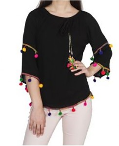 LEO Casual 3/4th Sleeve Embroidered Women Black Top
