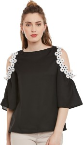I Know Casual Bishop Sleeve Solid Women's Black Top