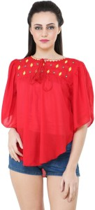 BuyNewTrend Casual Short Sleeve Embroidered Women's Red Top