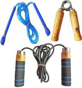 RIPR workout combo (Foam skipping rope, pencil skipping rope and hand gripper) Badminton Kit