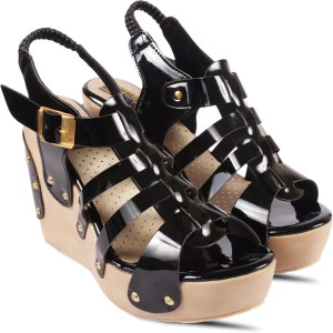 Anand Archies Women Black Wedges Best