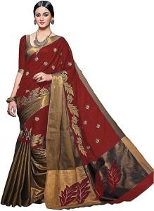 3Buddy Fashion Embroidered, Embellished, Self Design Kanjivaram Cotton Saree