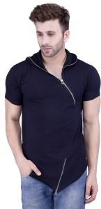 Acomharc Solid Men's Hooded Dark Blue T-Shirt