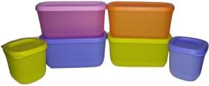 Tupperware Cubix Set of 6 (Multicolor)  - 1220 ml Plastic Multi-purpose Storage Container
