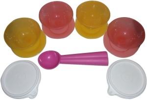Tupperware Dessert Dish (Set of 4) and Scoop (1 pcs)  - 120 ml Plastic Multi-purpose Storage Container