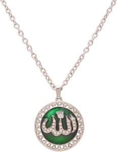 Memoir Brass CZ green enamel Allah word urdu chain pendant muslim jewellery  men women Silver Cubic Zirconia Brass Pendant