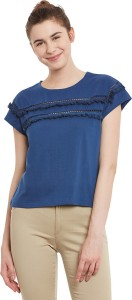 Miss Chase Casual Cap Sleeve Solid Women's Dark Blue Top