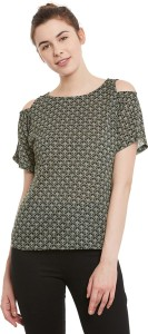 Miss Chase Casual Half Sleeve Printed Women's Green, White Top
