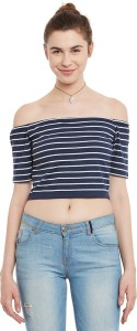 Miss Chase Casual Half Sleeve Striped Women's Dark Blue, White Top